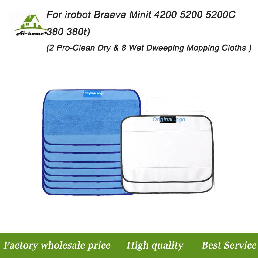 Microfiber 8pcs Wet & 2pcs Dry Dweeping Pro-Clean Mopping Cleaning Cloths for Robot irobot Braava Minit 4200 5200 5200C 380 380t(China (Mainland))