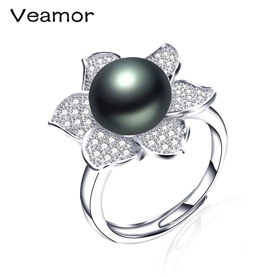 VEAMORE 925 Sterling Silver Jewelry Round Shape Radiant Elegance, Clear CZ Flower Rings For Women Big Size Black Pearl Jewelry(China (Mainland))