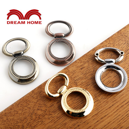 10 Pcs Antique vintage ring handle drawer Chinese style American small antique hand-pulling variety, yellow red<br><br>Aliexpress