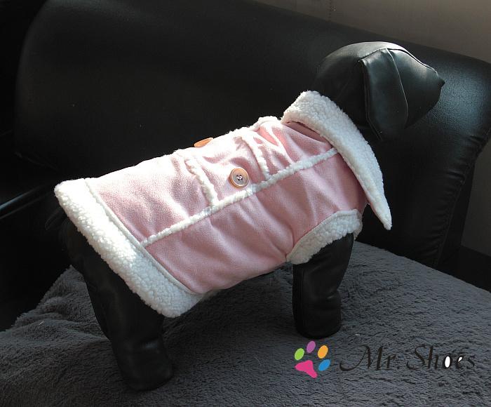 Cão de estimação de camurça casaco de luxo rosa filhote de cachorro quente de inverno colete de lã dentro cães tamanho ml