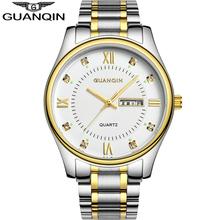 GUANQIN Business Watches Men Top Brand Luxury Quartz Watches Men Full Steel Calendar Waterproof Fashion Watch Relogio Masculino