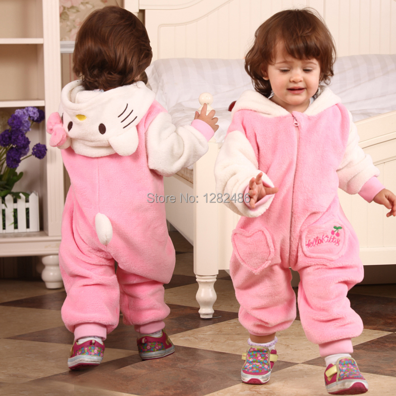Baby girls clothing set hello kitty flannel cartoon modelling long sleeve baby romper girl lot newborn baby clothes 0 - 2 yrs(China (Mainland))