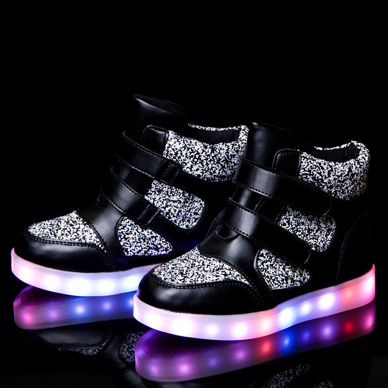 size 25-39 children cotton boots shoes led light luminous usb charging kids boys girls high-top sneakers TX0241 - Shanghai YST Fashion Co.,Ltd store