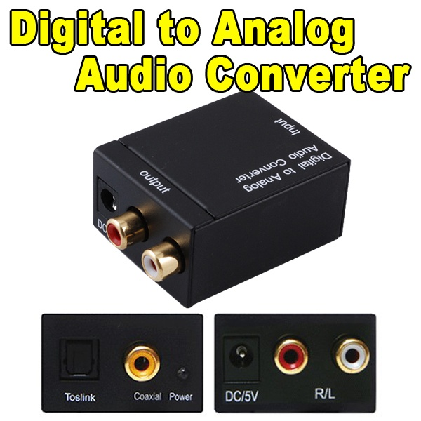 Digital Audio Signals to Analog L / R Audio adapters Digital convert to Analog Audio Converter adapter Optical Coaxial Toslink(China (Mainland))