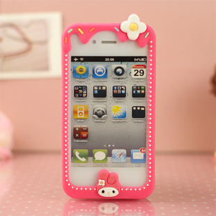 Personalized cartoon stylish Hello Kitty Melody Stitch silicone bumper case for iphone 4 4S with retail box