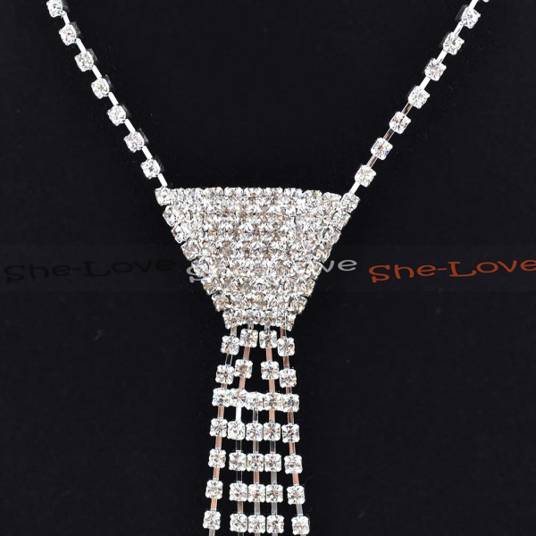 Fashion Sexy Rhinestone Bow Tie Necktie Necklace Women Jewelry Gift 1 Pc New