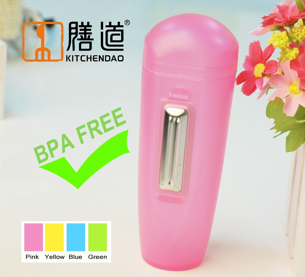 Color Pink BPA Free KITCHENDAO Veggie Peeler Stainless Steel Peeler Blade Paring Knife with a Storage and Collection Box(China (Mainland))