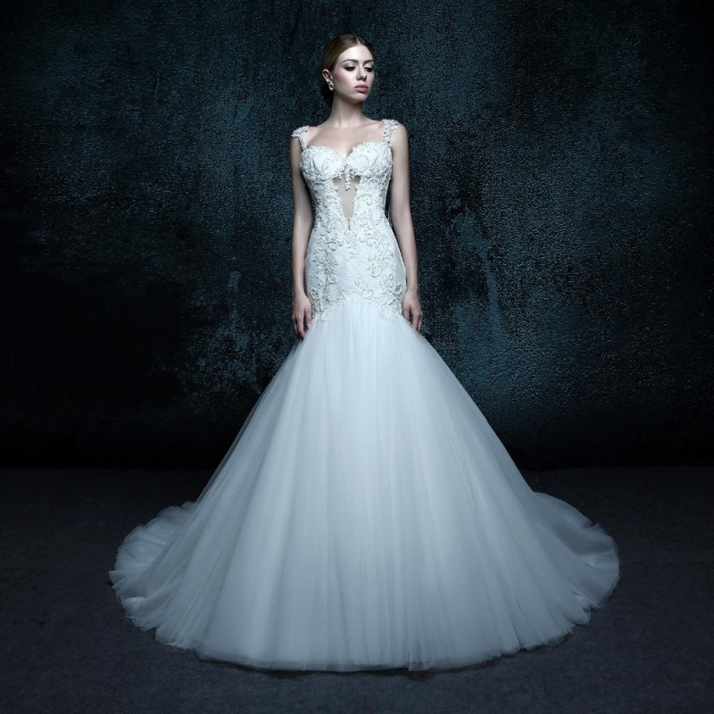 Trumpet mermaid sexy backless wedding dress sweetheart for Tulle trumpet wedding dress