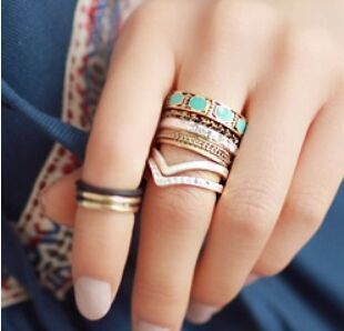 Fashion Vintage Punk Style 8pcs/lot Metal Ring Hollow Out Band Midi Mid Finger Knuckle Ring Set High Quality Free(China (Mainland))