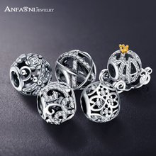 ANFASNI Genuine 100% 925 Sterling Silver Openwork Cinderella's Pumpkin Dragonfly Meadow Pandora Charms Fit Bracelet PSMB0212(China (Mainland))