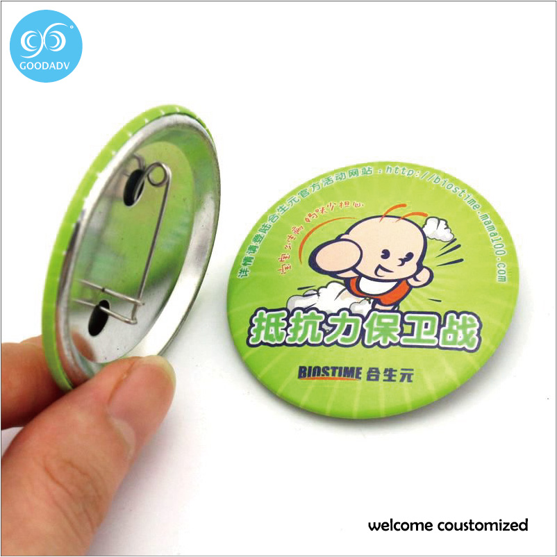 Free Shipping Advertising Gift Custom Badge 20-75mm Size Round Pin badge for kids gift and Birthday party(China (Mainland))