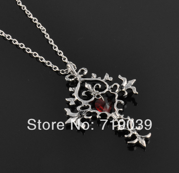 20pcs/lot Wholesale Hot Vampire Diaries Vintage Unique RED Sacred Heart Crystal Cross Necklace Pendant Chain Long Necklaces 2014(China (Mainland))