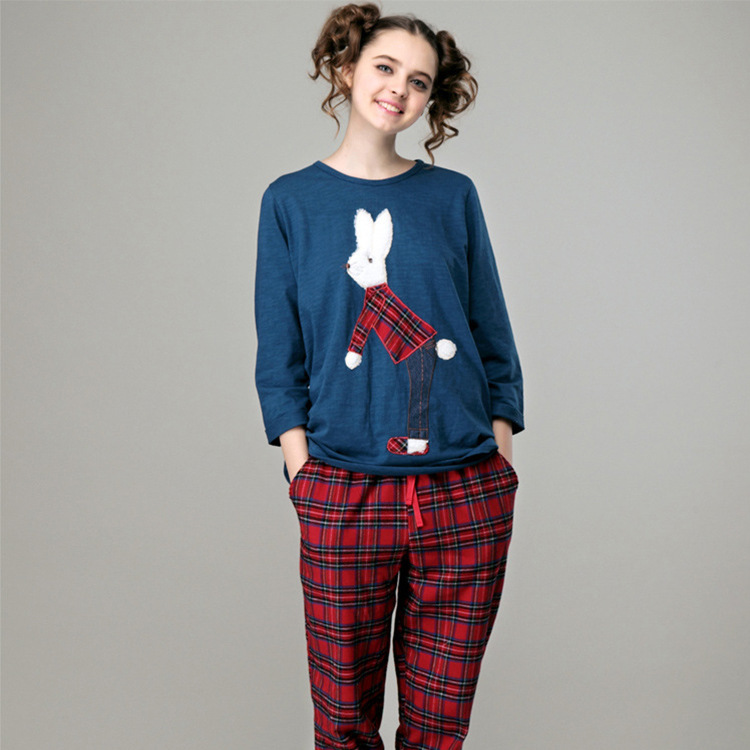 Весна осень женщины с длинным рукавом хлопок мультфильм милый кролик пижамы костюм пижамы пижамы пижамы свободного покроя домашней одежды