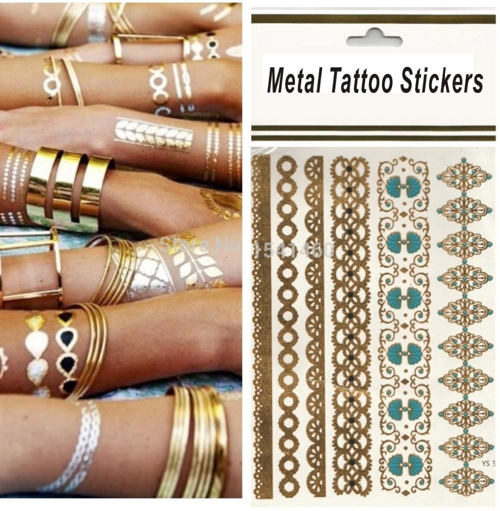 Pro waterproof Petals beautiful case body art flash metallic temporary tattoos gold tatoos metalic tatoo Hot(China (Mainland))