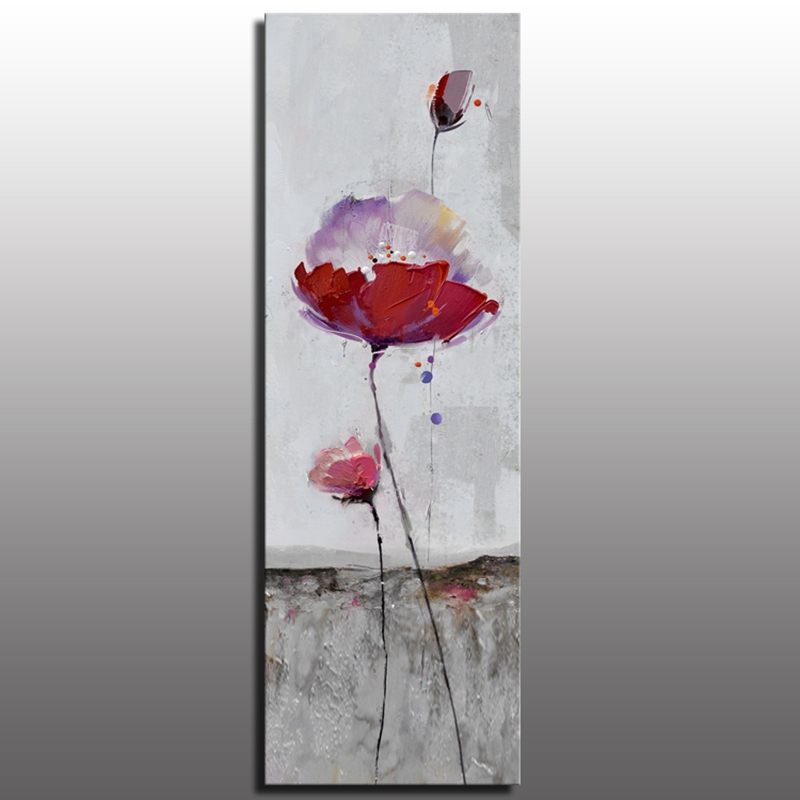 Popular design red flower art painting heavt texture palette knife abstract wall decor flower oil painting on canvas AE077(China (Mainland))