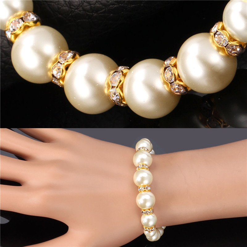 2015 New Trendy Pearl Beacelet Wholesale 18k Gold Plated Crystal Simulated Pearl Bead Bracelets For Women Wedding Gift H755(China (Mainland))