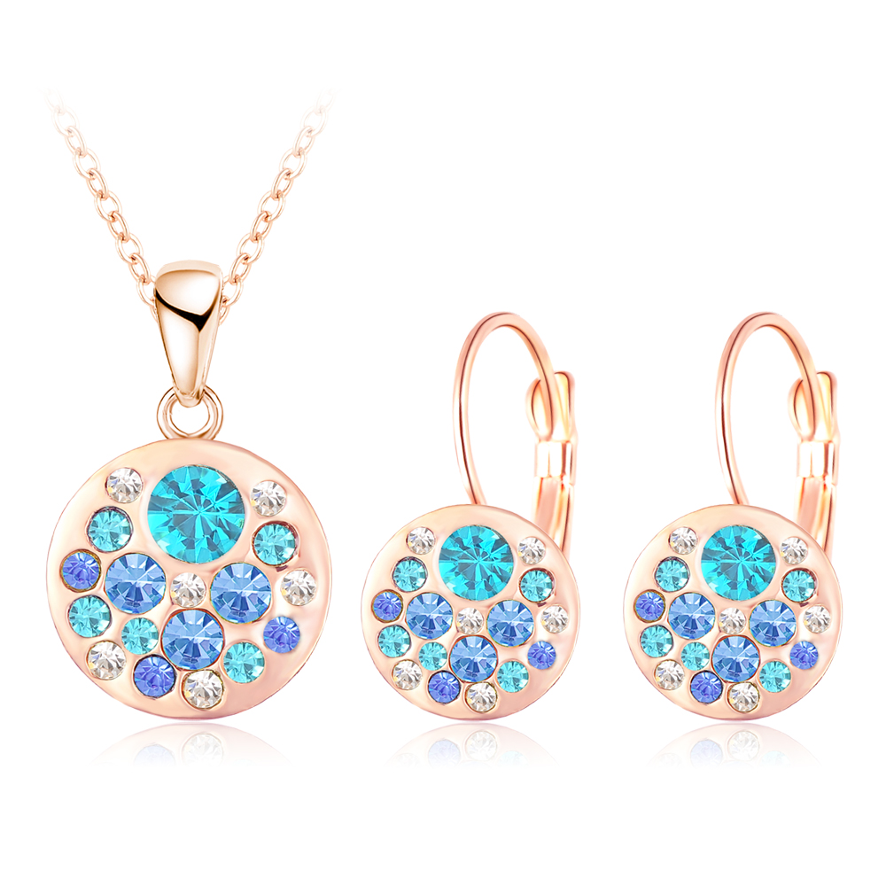 Hot 2016 New Austrian Crystal Jewelry Set for Women 18K Rose Gold Plated Round Style Pendant/Earrings Sets parure bijoux femme(China (Mainland))