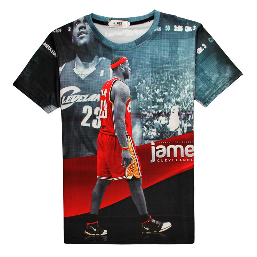 Summer Style Printed Lebron James Star Red Graphic 3D T-Shirt Fashion Design Short Sleeve Tees Mens Crewneck Tops Plus Size 5XL(China (Mainland))
