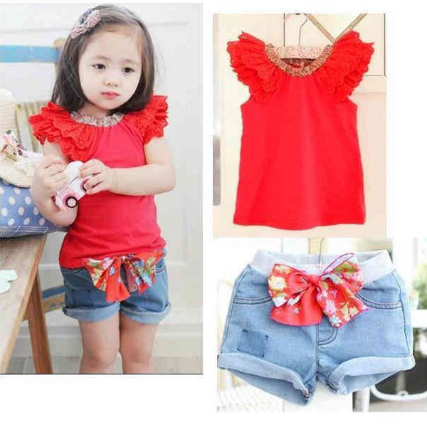 Hot 2 Colors Girls Kids Ruffled Sleeves T shirt Bow knot Jeans Pants 1 6Y 2