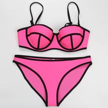 2015 summer style push up triangle neoprene bikini set women sexy swimsuit swimwear bathing suit biquini swim suit(China (Mainland))