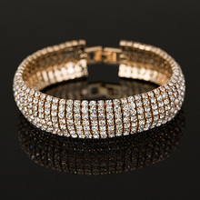 Buy Factory price Gold Silver plated Classic Crystal Pave Link Bracelet Bangle Fashion Full Rhinestone Jewelry Women B011 for $1.86 in AliExpress store