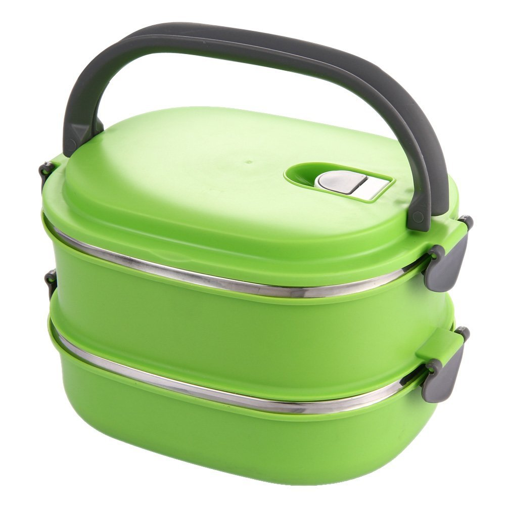 GSFY-Insulated Lunch Box Stainless Steel Food Storage Container Thermo Server Essentials Thermal Double Layer Green(China (Mainland))