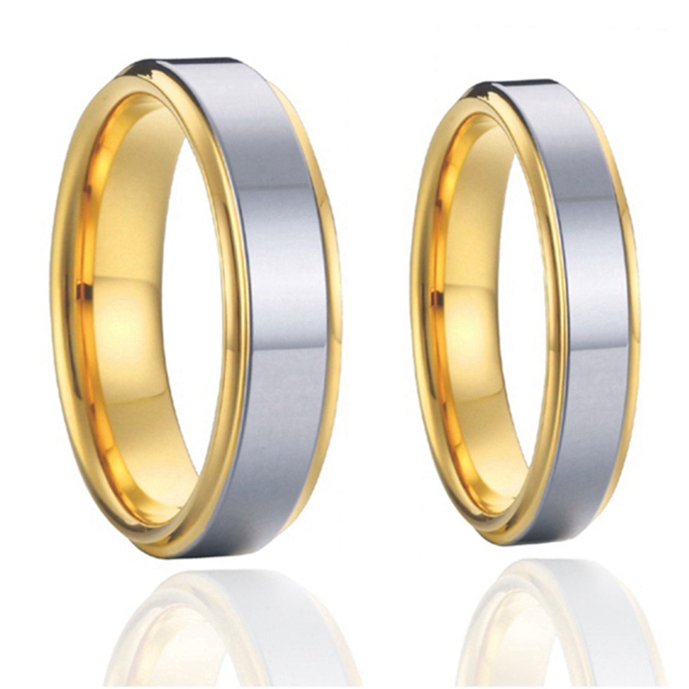 2015 classic titanium steel couples wedding bands rings sets 1 pair 18k gold plated alliances USA size 7-15 - China Wedding Rings store