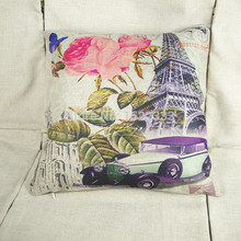 Hand-painted Eiffel Tower cushion cover