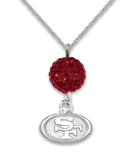 rhodium plated San Francisco 49ers Rugby pendant necklaces with crystal beads 30pcs a lot(China (Mainland))