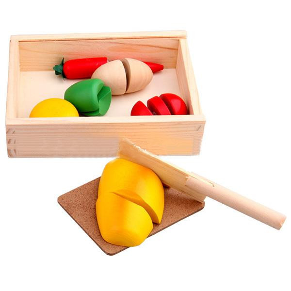Childrens Kid Intelligence Toy Velcro Kitchen Food Play Cut Vegetable Wooden Toy(China (Mainland))