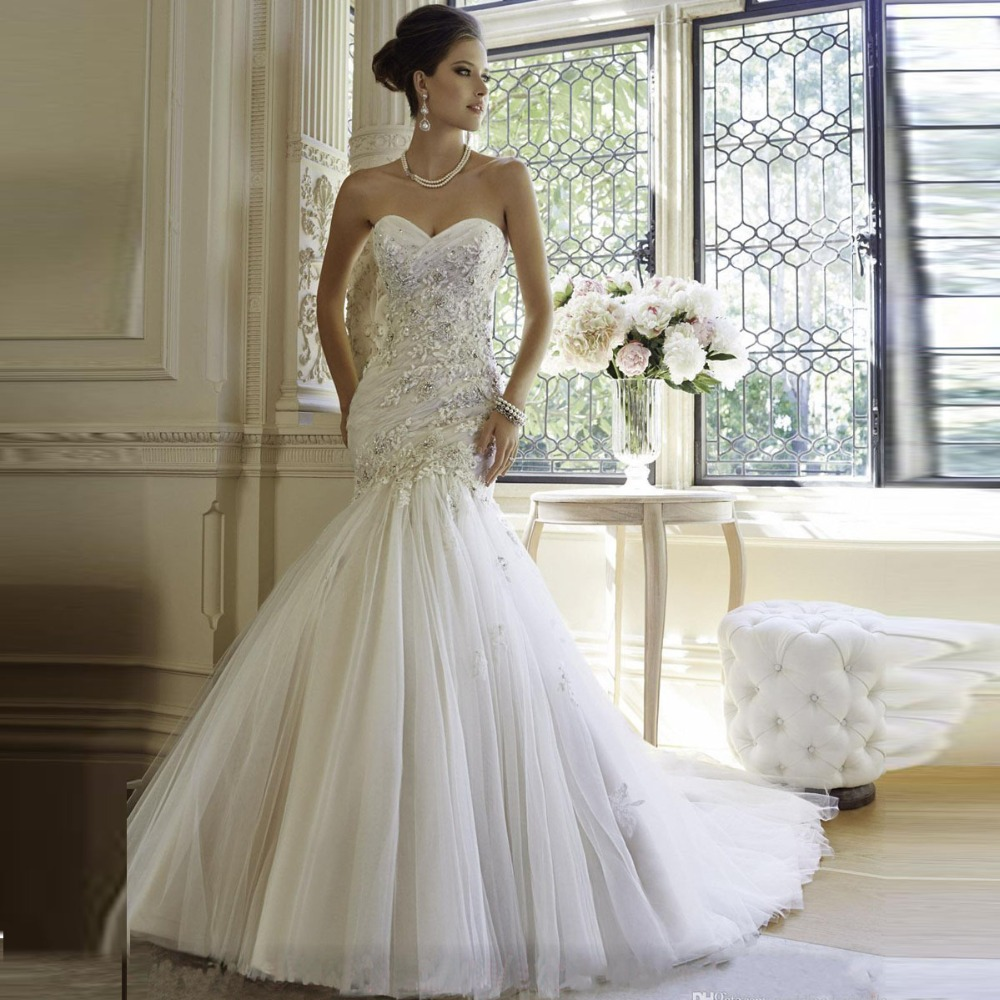 Luxury lace appliqued mermaid wedding dresses plus size for Off white plus size wedding dresses