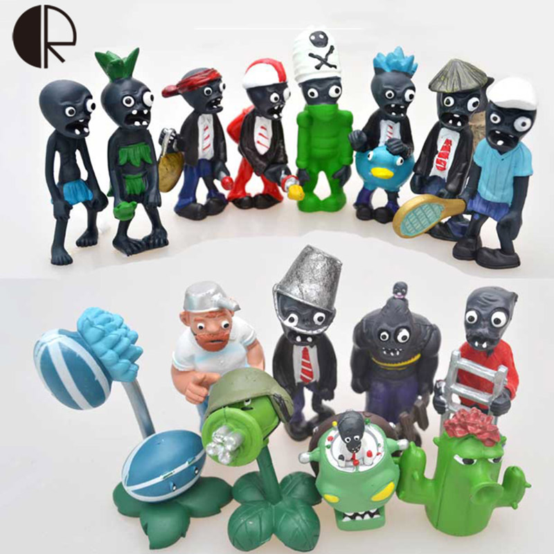 16pcs/set Hot Sale Plants vs Zombies Statue Toy PVC Action Figures Model 4-7cm PVZ2 Fixed Collection Figurine Toys Gifts HT3478(China (Mainland))