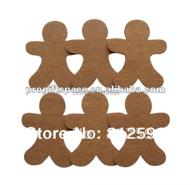Free Shipping 60pcs 2016 Winter Fashion Laser Crafts Polyester Felt Christmas Gingerbread Man Decor Scrapbooking DIY Ornaments(China (Mainland))