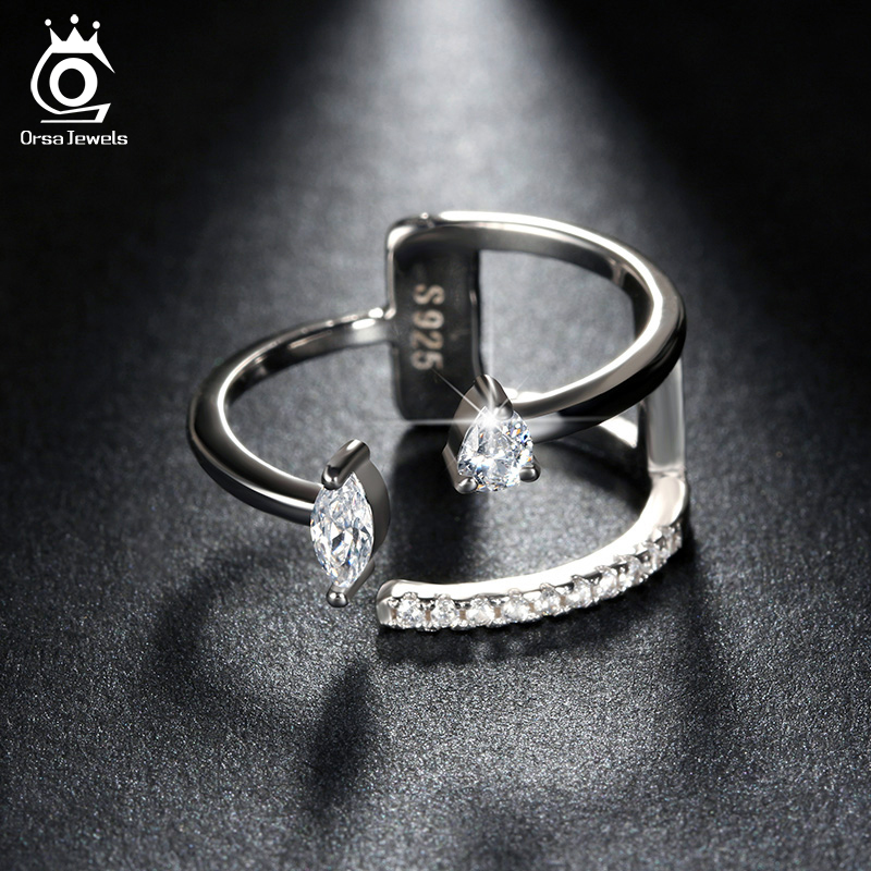 Popular Girls' Finger Adjustable Ring with Brilliant Austrian Crystal White Gold Plated Silver Rings Cute Christmas Gift OR115(China (Mainland))