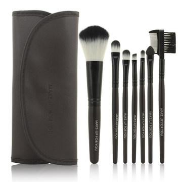 2014 HOT !! Professional 7 pcs Makeup Brush Set tools Make-up Toiletry Kit Wool Brand Make Up Brush Set Case free shipping PY(China (Mainland))
