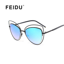 FEIDU 2016 New Fashion Brand Cat eye Sunglasses Women Ladies Metal Frame Vintage Sun glasses For Women Oculos De Sol Feminino