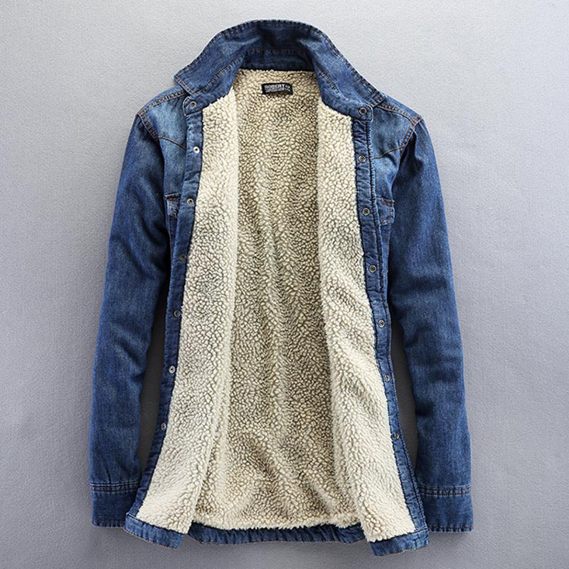 2017 New Fashion Slim Men Jeans Shirt Winter Warm Male Denim Shirt Velvet Fleece  Lined Jacket - Online Buy Wholesale Nylon Fleece Lined Jacket From China Nylon