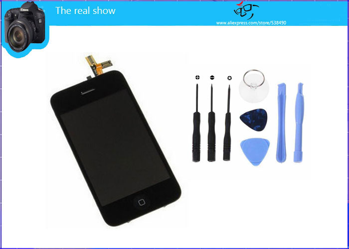 Free Shipping, 10pcs/lot,For iphone 3GS LCD Complete with Repair Tools, Original LCD + High Copy Touch + Frame + Repair Tools(China (Mainland))
