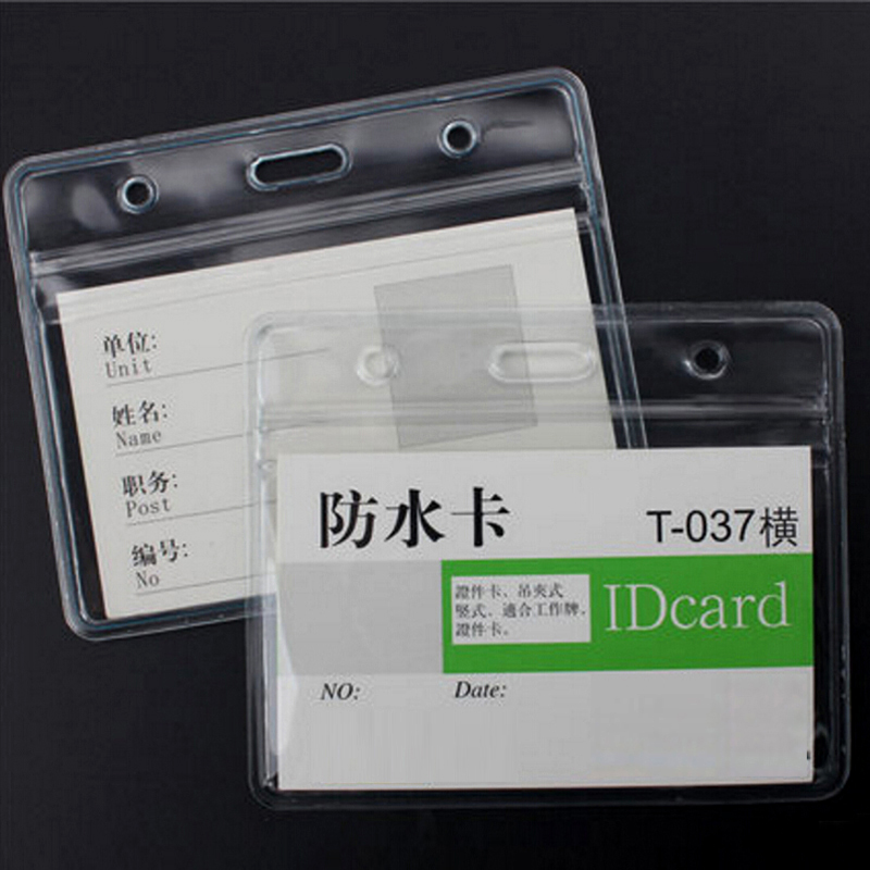 High Quality 20Pcs Horizontal Style Transparent Soft Plastic Clear ID Card Badge Holder Waterproof New Office School Tool(China (Mainland))