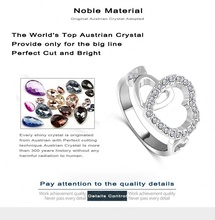 LZESHINE Brand Romantic Wedding Rings Women Ring18K Rose Gold Platinum Plated With Austrian Crystal Heart Ring