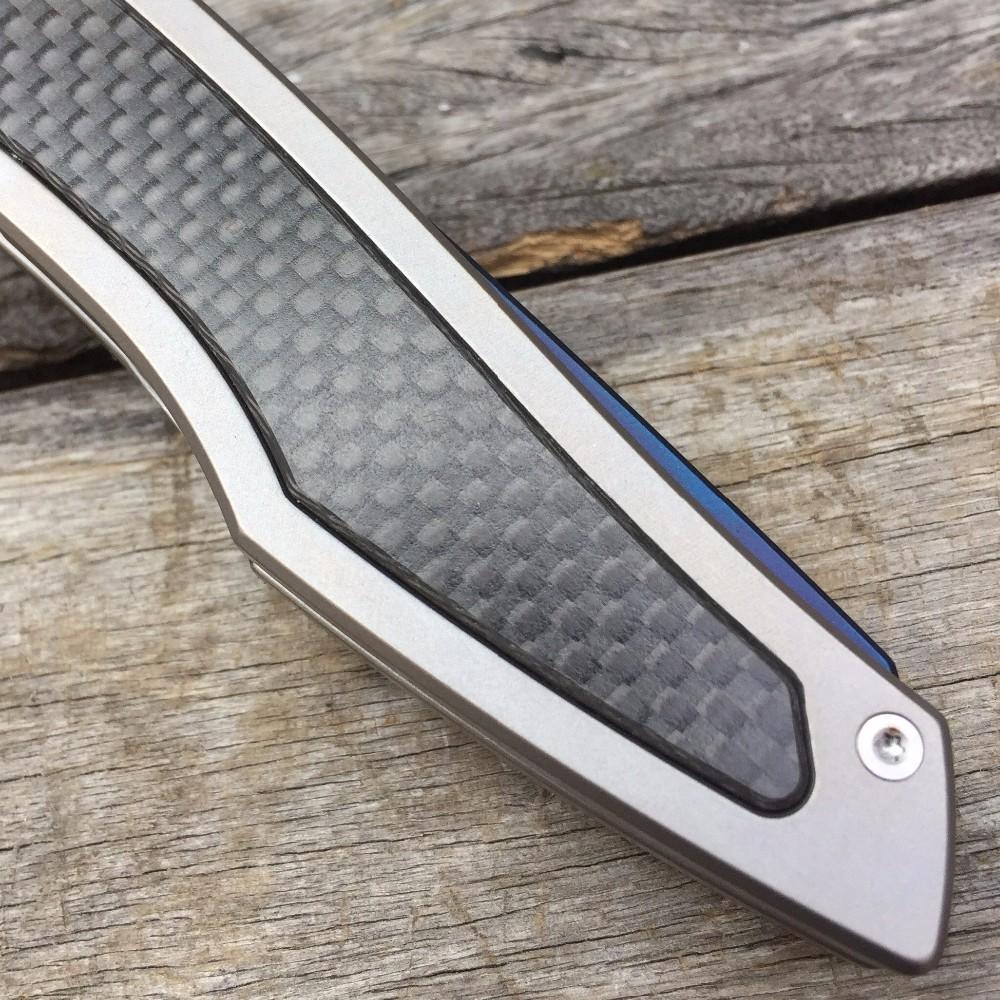 Buy LDT Piston Folding Blade Knife D2 Blade Titanium Handle Ball Bearing Tactical Camping Tools Outdoor Survival Pocket Knives OEM cheap