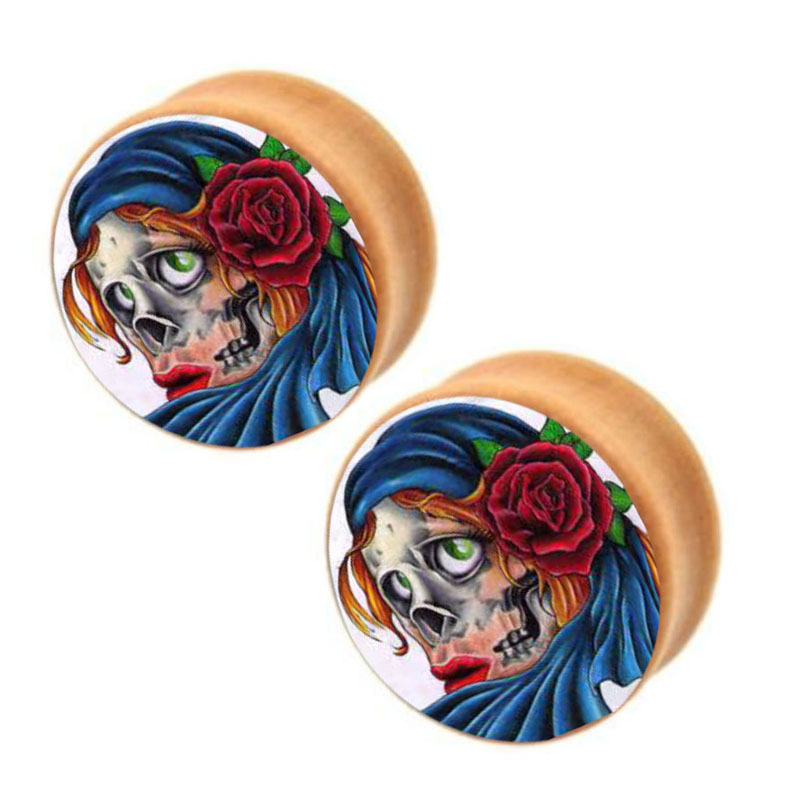 Nature Wood Ear Plugs Fit Ear Gauges Plugs Sugar Skull Logo Flesh Tunnels Piercing Stretcher<br><br>Aliexpress