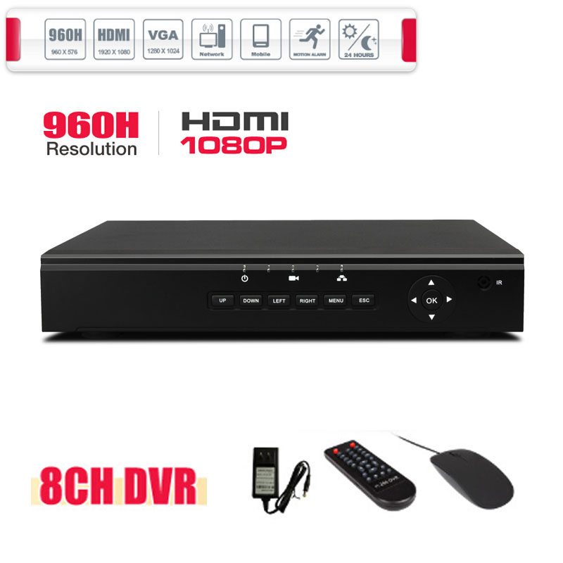 1080P HDMI 8CH CCTV DVR 960H Recording Valid Remote Network Mobile Phone View 8CH Stand Alone DVR P2P(China (Mainland))