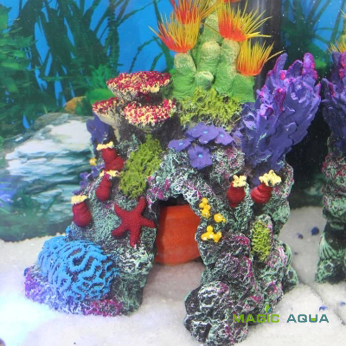 1pcs beautiful resin artificial coral ornament for marine for Artificial coral reef aquarium decoration inserts
