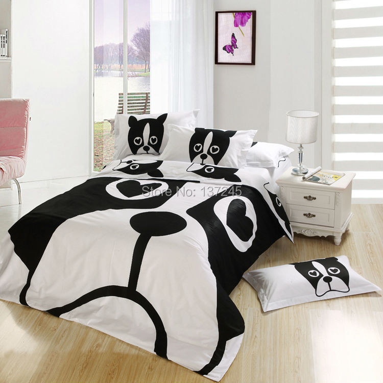 black and white dog printed bedcover cartoon bedding set single double bed size comforter cover bedsheet pillowcase 4pc Linens(China (Mainland))