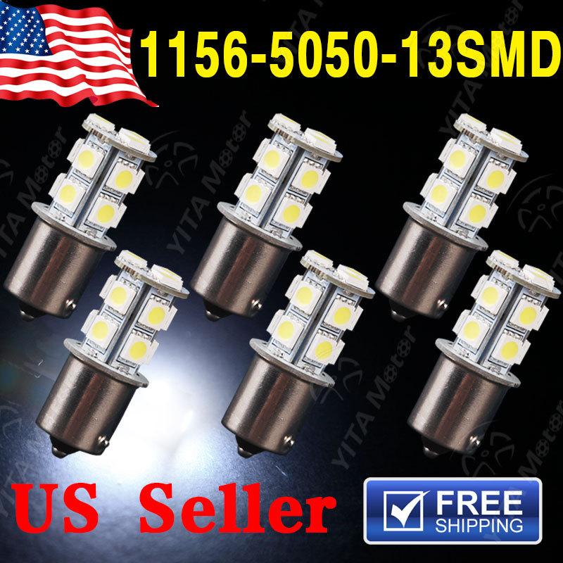 Hot Selling Car led Light 6pcs 1156 BA15S 13SMD 5050 LED Light Bulbs 12V 1141 rv led Bulb Super White Light Lights Lamps for Car(China (Mainland))