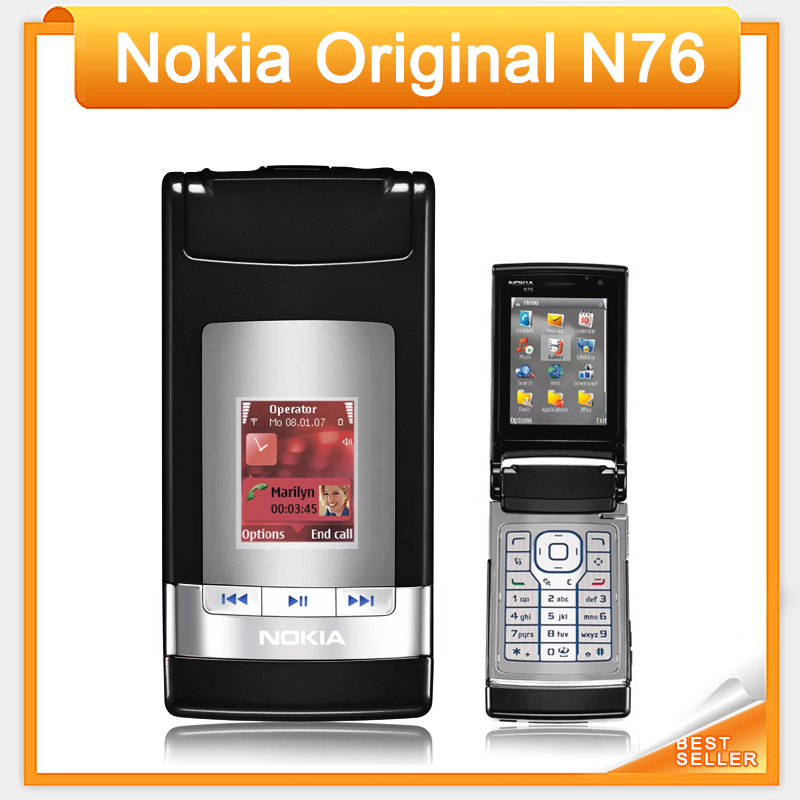 Original N76 Nokia Mobile Phone Free shipping Nokia Flip phone with Russian Keyboard(China (Mainland))