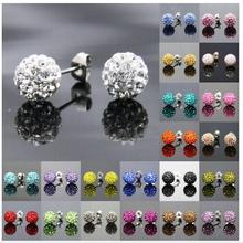 Free Shipping 19 Color 10MM Brand Earrings Micro Disco Ball Shamballa rhinestone Stud Earring For Women Fashion Jewelry(China (Mainland))