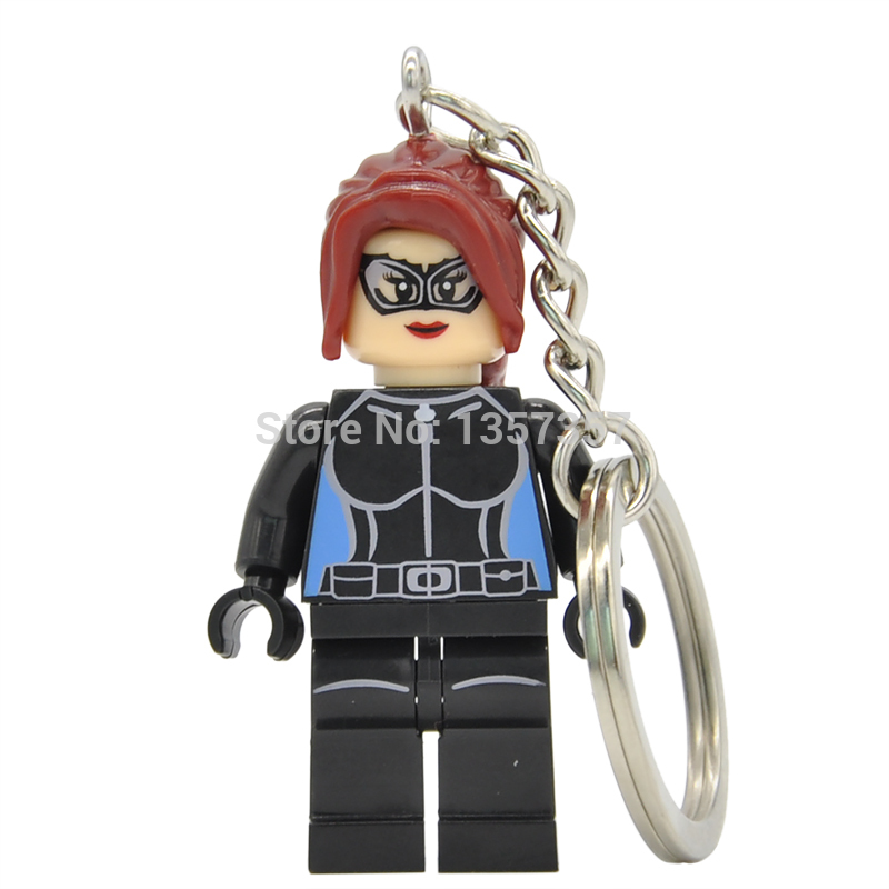Catwoman DC Super Heroes Minifigures Keychain For Key Custom Ring Key Chain Building Blocks Sets Model