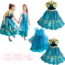 top grade Age 3-10 2015 Elsa Anna costume Cosplay dress princess girls dresses Kids party dresses infantis vestido Menina